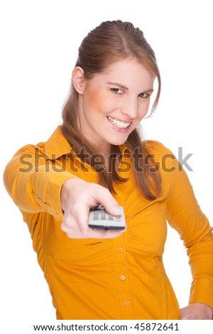 Full isolated studio picture from a young woman with remote control