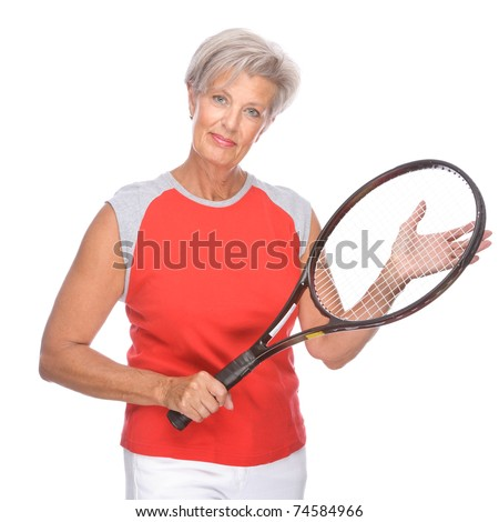 Full isolated studio portrait of a active senior woman