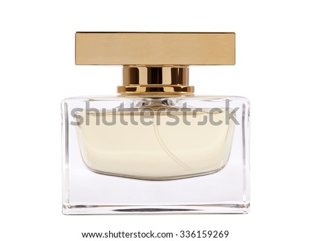 Full jar of perfume with reflection. isolated on white