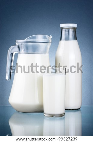Full Jug, Bottle of fresh milk and glass isolated on dark grey background