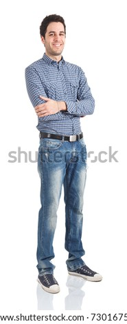 Full lenght portrait of a young man. Isolated against white background.