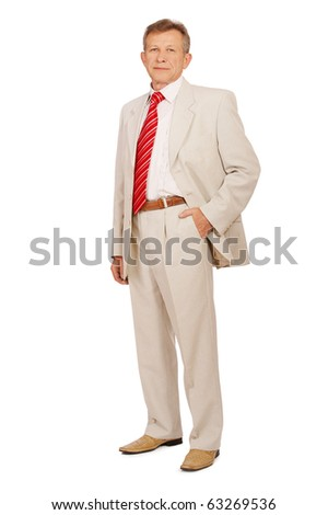 full-lenght portrait of senior businessman in suit on white