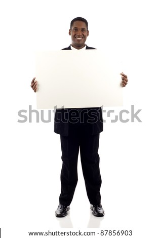 Full length a happy black businessman holding a blank sign isolated white background - stock photo