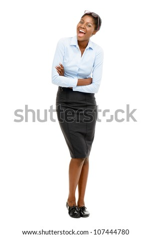 Full length African American Attractive young businesswoman white background - stock photo