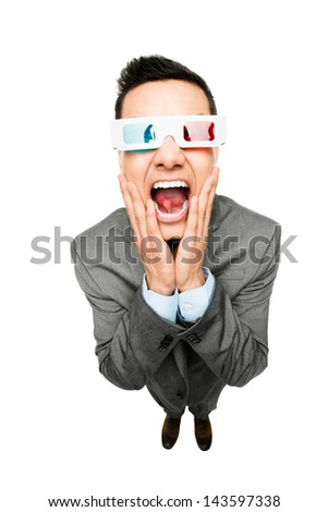 full length asian businessman wearing 3d glasses movie white background