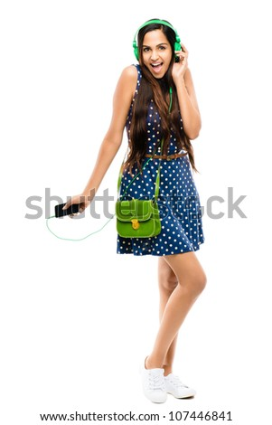 Full length attractive Indian woman fashion model on white background