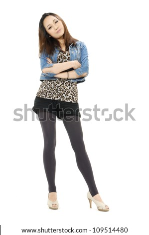 Full length attractive young girl posing over white background - stock photo