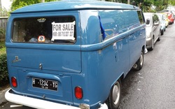 Full length back view from one blue VW Bulli, Shown on an exhibition of VW Bulli, Combi and Beetle in Yogyakarta, Java, Indonesia on November 19, 2017