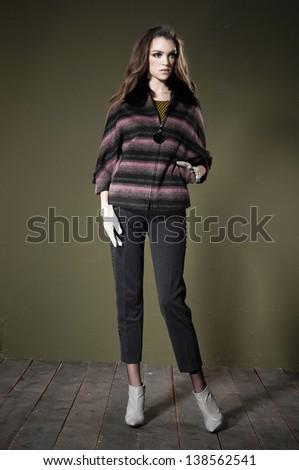 Full length beautiful fashion woman posing wooden floor #138562541
