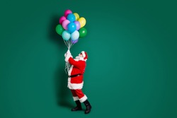 Full length body size profile side view of his he nice attractive handsome Santa holding in hands bunch helium balls festal organization shop sale delivery isolated over green color background