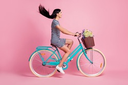 Full length body size profile side view of pretty cheerful girl riding bike having fun isolated on pink pastel color background