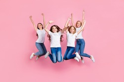 Full length body size view of four nice stylish attractive lovely charming cheerful cheery glad girls having fun free spare time rejoice motherhood isolated over pink pastel background