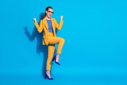 Full length body size view of her she nice attractive chic cheerful cheery satisfied lady leader dancing rejoicing having fun isolated bright vivid shine vibrant blue color background