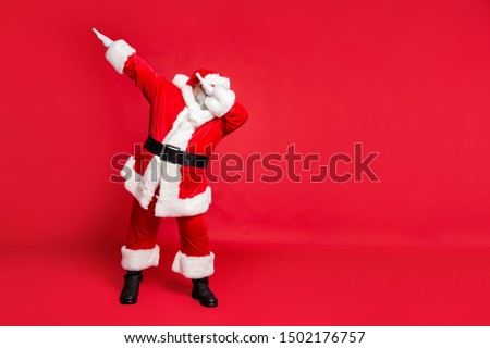Full length body size view of his he carefree fat overweight plump gray-haired bearded man St Saint Nicholas having fun christmastime occasion isolated over bright vivid shine red background #1502176757