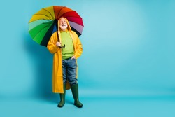 Full length body size view of his he nice cheerful cheery glad grey-haired man wearing yellow plastic overcoat parasol rainy day isolated over bright vivid shine vibrant blue color background