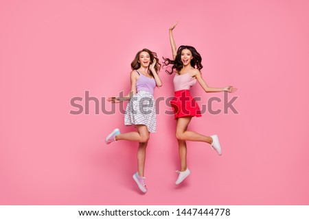 Full length body size view of nice-looking smart attractive charming lovely lovable careless carefree cheerful cheery girls having fun free spare time day isolated over pink pastel background #1447444778