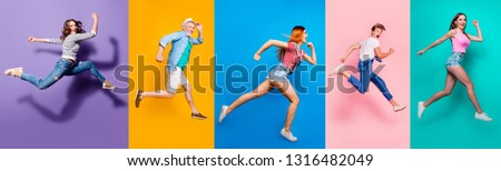 Full length body size view photo portrait collage of running sporty people in striped T-shirt overalls looking in front striving progress active life isolated on bright colorful different background