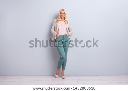 Full length body size view portrait of her she nice-looking attractive stylish content cheerful cheery gray-haired lady granny over light white gray background
