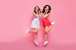 Full length body size view portrait of nice-looking smart glamorous shine attractive charming winsome lovely lovable cheerful cheery girls having fun isolated over pink pastel background