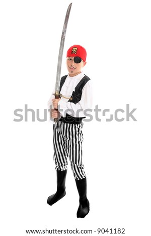 Full length boy wearing a pirate costume and holding a long sword.  eg halloween, play, costume party, theatre