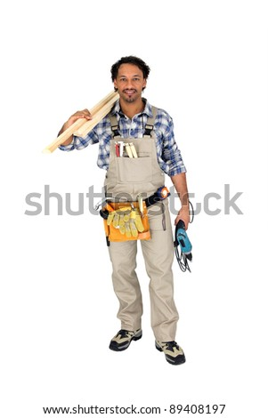 Full length carpenter - stock photo