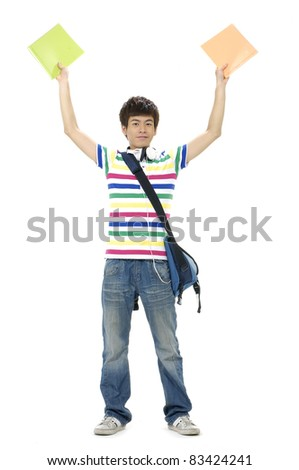 full-length casual student in jeans with backpack with arms up