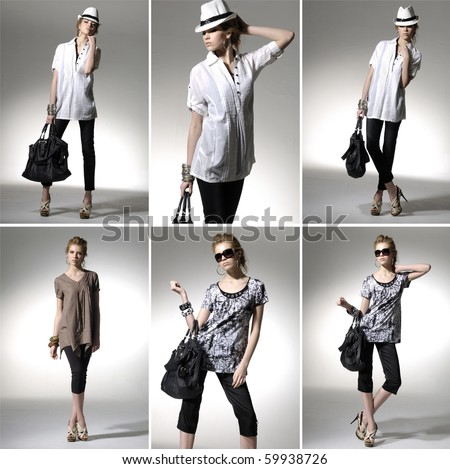 Full length casual young fashionable woman with a bag in light background ,collage