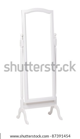 Full length dressing mirror on stand. Folding free-standing mirror isolated over white. With clipping path.