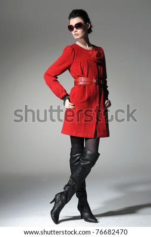 full-length fashion model in red clothes posing