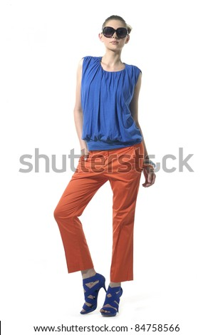 Full length female fashion model posing against white background