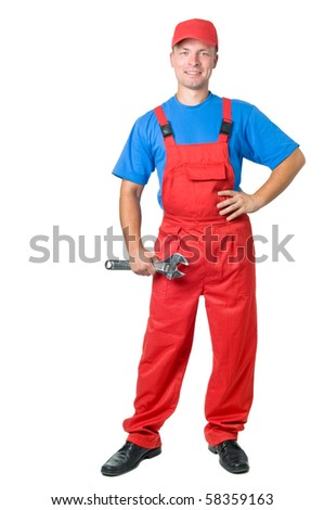full-length figure of happy repairman worker serviceman with adjustable wrench