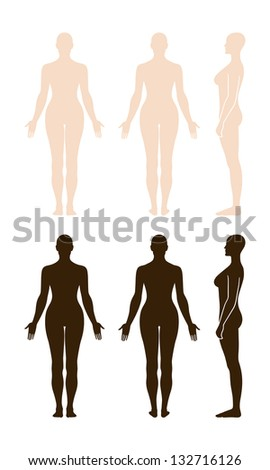 front and back female naked body