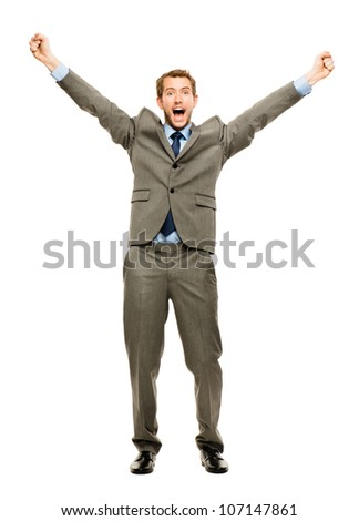 Full length happy businessman winning successful on white back