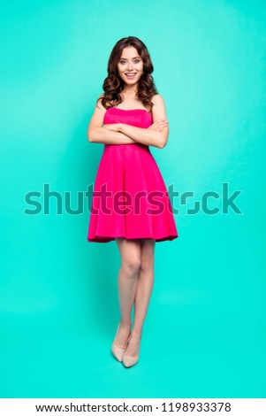 Full length, legs, body, size vertical portrait of adorable, good-looking brunette lady with modern haircut look at camera isolated on bright turquoise background cross arms over her chest