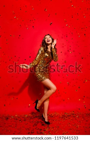 Full length, legs, body, size vertical portrait of gorgeous, nice, stunning, adorable, good-looking lady with style modern curly, wave hairstyle isolated on bright red background #1197641533