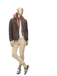 Full-length male mannequin dressed in casual clothes (jacket and trousers), isolated o n white background.  No brand names or copyright objects.