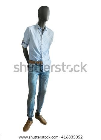 Shutterstock Full length male mannequin dressed in checkered shirts and jeans on white background. No brand names or copyright objects.