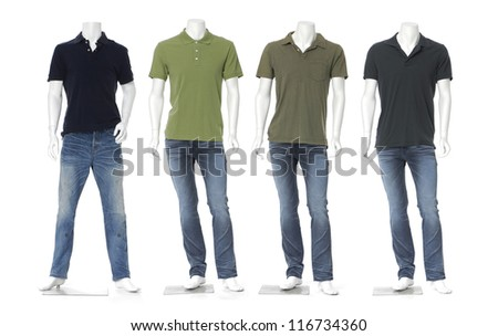 Full length male mannequin dressed in jeans with colorful t-shirt