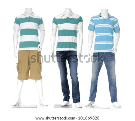 full length male mannequin dressed in jeans with striped shirt