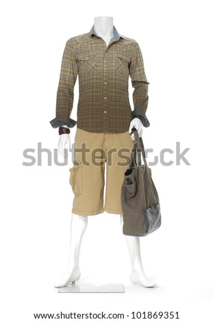 full length male mannequin dressed with bag
