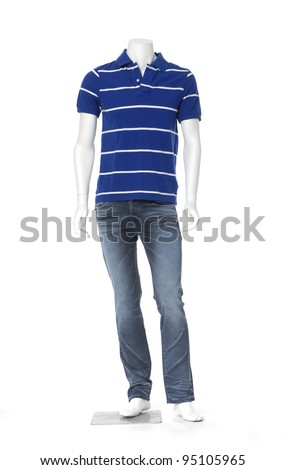 Full length male mannequin in blue striped (Polo) with jeans ,isolated