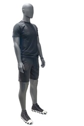 Full length male mannequin wearing sport athletics clothes over white background. No brand names or copyright objects.