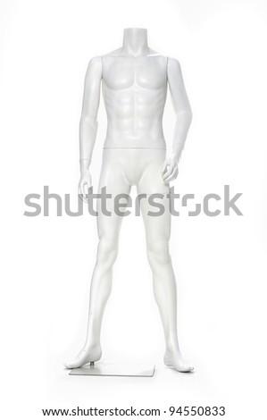 full length mannequin standing alone on white  background