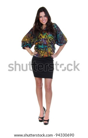 Full length of a beautiful girl in black skirt and colorful blouse