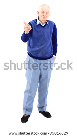 Full length of a happy mature man showing a thumbs up on white