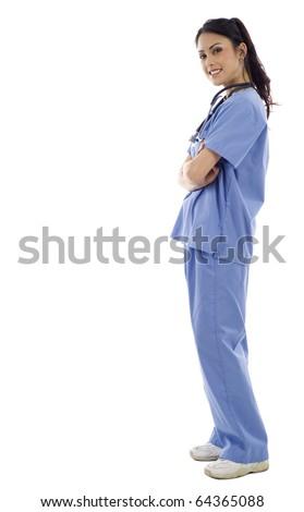 Full length of an Asian female nurse standing against isolated white background - stock photo