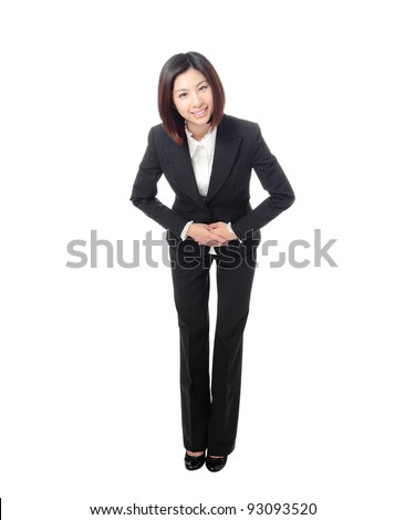 Full length of attractive business woman take a bow isolated on white background, model is a asian beauty