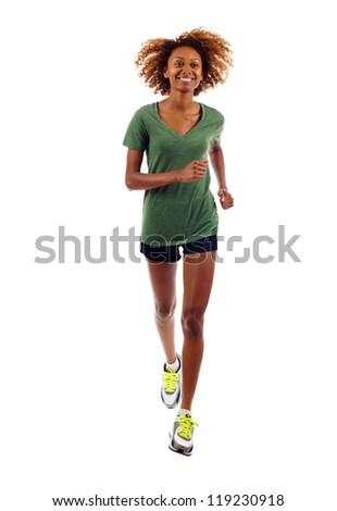 Full length of beautiful black fitness girl running isolated over white