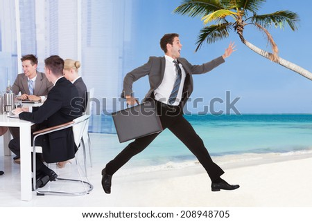 Full length of businessman escaping from conference meeting towards beach for vacation