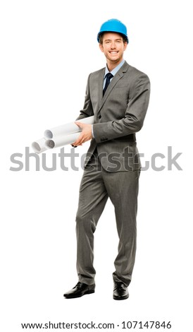 Full length of confident young businessman architect on white background